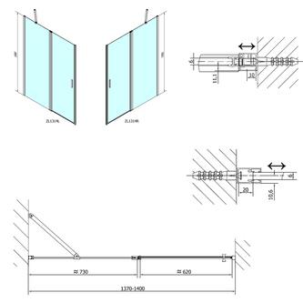 ZOOM LINE Duschtür 1400mm, Klarglas