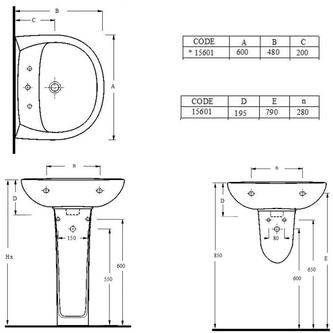 Keramik-Waschtisch 60x48cm