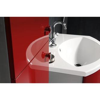 AILA Hochschrank mit Wäschekorb 35x140x30cm, rechts, rot/silber