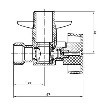 Eck-Waschmaschinenventil, Kugelventil 3/4'x 1/2' - L, Chrom