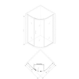 SIGMA Duschabtrennung Viertelkreis 1000x1000mm, R550, 1 Tür, L/R, Klarglas