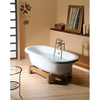 MATRIX W freistehende Badewanne 175x80x46cm, Holzgestell Eiche hell