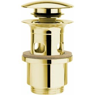 Verschließbare Ablaufgarnitur für Waschtische mit Überlauf, H. 40-64mm, Gold