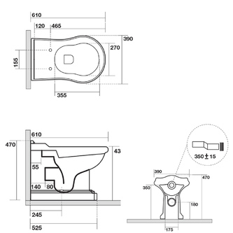 RETRO WC Becken 39x43x61cm, Abgang senkrecht/waagerecht