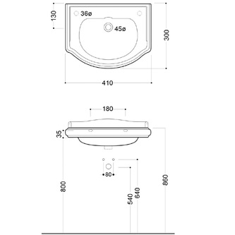 RETRO Keramik-Waschtisch 41x32cm, Armaturloch rechts, ohne Überlauf