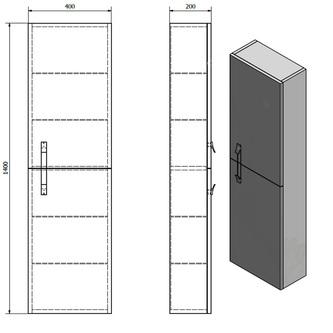MITRA Hochschrank 35x140x30cm, Anthrazit, links/rechts